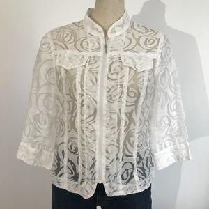 KerryBrooke  - White Lace Sheer Jacket - M